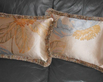 Throw Pillows woven Silk fabric large floral design custom new PAIR