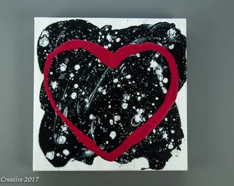 Black White  with Red Heart Abstract Painting, Colorful Art, Abstract Painting, Acrylic Painting, Red Heart Painting