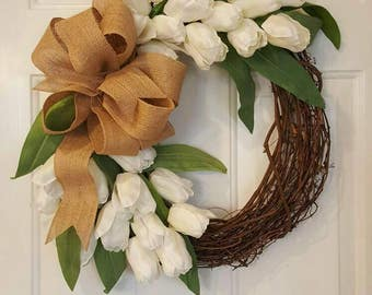 White Tulip grapevine wreath