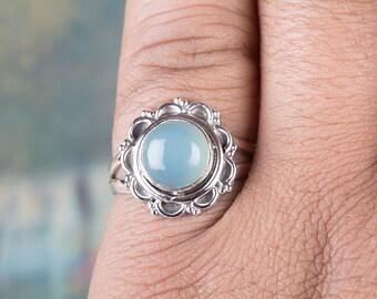 Aqua Chalcedony Gemstone Ring, Statement Ring, Chalcedony Engagement Ring, 925 Sterling Silver Ring RS-501