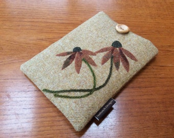 Kindle paperwhite cover, kindle voyage, Fire 6 HD, Kobo, Nook cover case, British wool tweed, autumn flowers