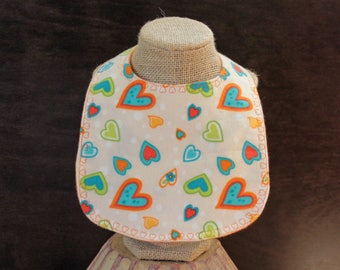Flannel Heart Bib with Pearl Snap Fastener Baby Gift Baby Shower Gift Mealtime Essentials Drool Bib