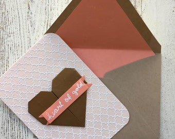 Gold origami heart card