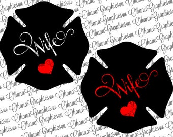 Firefighter Badge Wife with Heart 2 Styles SVG