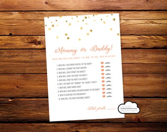 Mom or Dad Quiz // Mommy vs Daddy Quest // Mom Vs Dad Trivia // Golden // Heart & Moustache // Printable