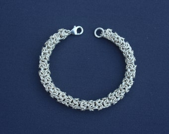 Sterling Silver Turkish Round Weave Chainmaille Bracelet