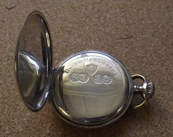 ANTIK SILBER Union Horlogere,mit Kette,SILBER 84