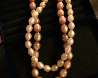 Vintage Blush Iridescent Multi Strand Pearl Necklace