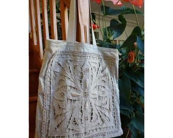 Large bag tote bag linen vintage
