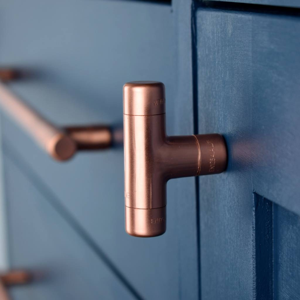 Modern copper t knob contemporary drawer pull handle - Bouton de meuble design ...
