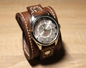 Leather cuff watch band Brown Men's cuff watch band Handmade Hand dyed Hand stiched