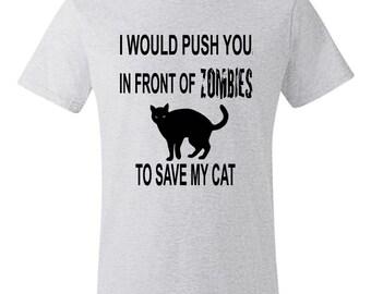 Funny Zombie Cat Feline T-shirt on a 4.5oz nano t-shirt
