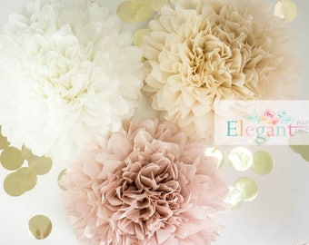 Dusty pink poms, paper flower, flower balls, wedding decoration, decoration, paper flower poms, baby shower, engagement party decorations