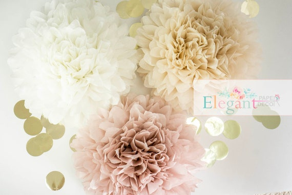 Dusty pink poms paper flower flower balls wedding decoration il570xn mightylinksfo