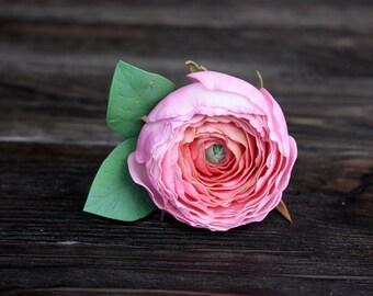 Bridal hair pin floral headpeace wedding hair pins pink ranunculus bridesmaid hair pin flower hair pin