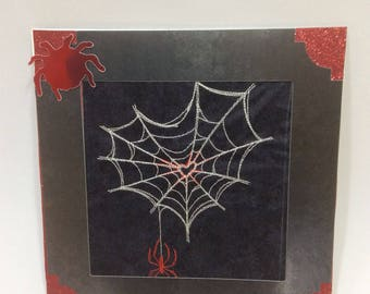 Web of love, birthday card, wedding card, engagement card, Spider Valentines Card, Handmade Embroidered Card, keepsake card