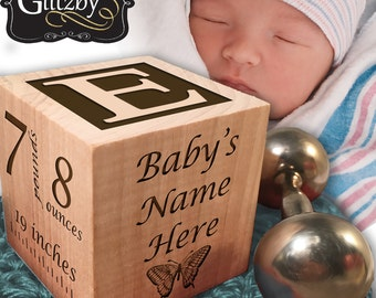Personalized Baby Block, Your Baby's Hand and Footprints Engraved, Nursery Decor, Newborn Gift, Baby Keepsake, Photo Baby Block, Wood Block