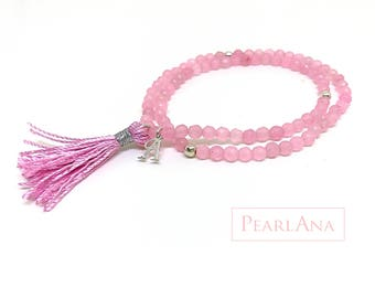 Small, pink stone beaded, stretch, versatile bracelet