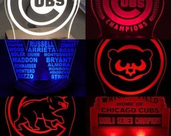 Chicago Cubs LED night light for desks, bars, man caves, night stands, and more.