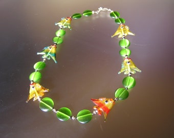 Vintage Artisan Murano Glass Necklace with Fishes on it
