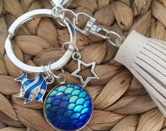 Mermaid Love Keychain,Fish,Purse Accessory,Scales,Coastal,Sea,Ocean,Keyring,Star,Tassel