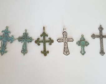 Aged Brass Cross Pendant with green patina coloring - 6 options!