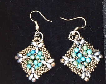 Pretty beaded peyote stitch earrings with crystals or fire polished beads