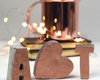 Copper Letters – Initials – Copper home decor– Copper letters– Copper – Wedding gift – housewarming gift  – Concrete Decoration