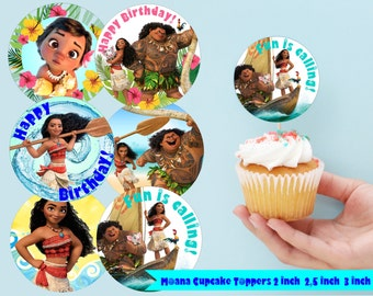 Moana Inspired Cupcake Toppers Moana Toppers 2 INCH 2,5 Inch 3 Inch Moana Party Decor Moana party Moana Cupcake Toppers Moana Party Moana