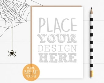 Halloween Invitation Mockup, 5x7 Card Mockup, Flatlay Halloween Mockup, Halloween Party Cards Mockup, Card Mockup (Halloween)