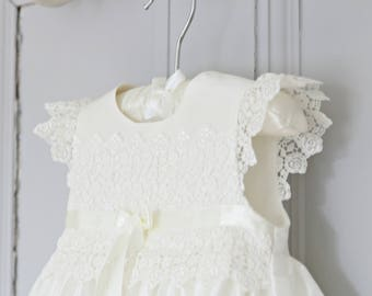 Christening Gown - Rachel Baptism Gown - Christening Dress - Baby Girl Baptism Dress - Blessing Gown - Silk Christening gowns - Lace gown