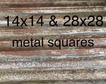 Rusty corrugated metal | Reclaimed galvanized metal sheets | 28x28 & 14x14 sizes | DIY crafts | Rustic home decor steampunk