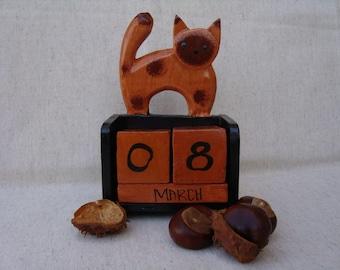 Perpetual calendar with cat-vintage wood calendar-perpetual calendar-gift for cat lovers