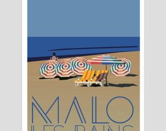 "Displays ""Malo Les Bains"" 50 x 70 cm - poster, displays vintage, retro poster"
