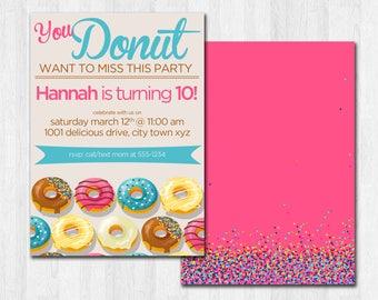 Donut Breakfast Birthday Party Invitation, Pink Donut Theme Party, Printable Donut Party Invite