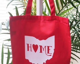 Ohio Home Heart Tote Bag Best Cute Red Shoulder Canvas Cotton Shopping Market Tote Bag