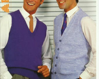 pdf Mens Slipover and Waistcoat Knitting Pattern.