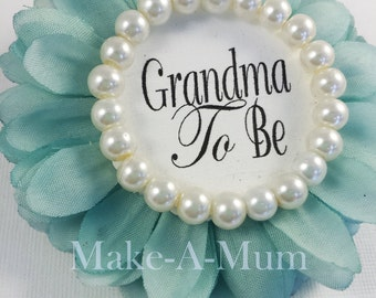 TIFFANY BLUE Wrist or Pin Baby Shower Corsage, baby shower favors, Mommy To be Pin , Grandma To Be, baby shower, TIFF/pearl, Gtb