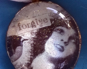 "Glass Cabochon Decoupage Pendant ""Forgive"""
