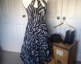 Vintage Grey and Black Zebra Print big skirt dress/pin up/handmade wedding summer holiday races key hole