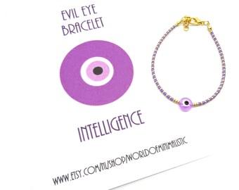 evil eye bracelet - thin beaded bracelet - delicate bracelet - minimalist bracelet - wish bracelet - friendship bracelet - birthday gift