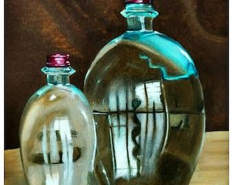 Gemälde »Zwei Flaschen« (Öl auf Leinwand, 30,0x40,0 cm)