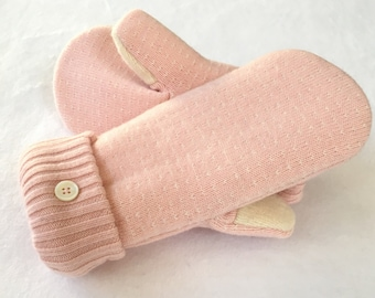 Sweater Mittens, Wool Sweater Mittens, Recycled Sweater Mittens, Lined Sweater Mittens, Ballet Pink