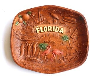 Vintage Florida Souvenir Platter by Multi Products USA Pre Disneyworld