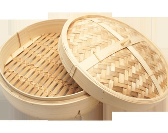 "8"" Bamboo Steamer Set Asian Kicthen"