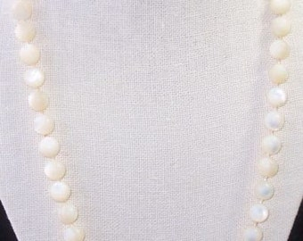 Mother of Pearl Bead Necklace with Cameo Closure
