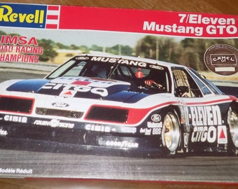Complete, 1987 Revell Model Kit of 7 Eleven Mustang GTO Car 1/25 Scale