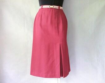Vintage minimalism burgundy pencil skirt / midi skirt women's size S/M