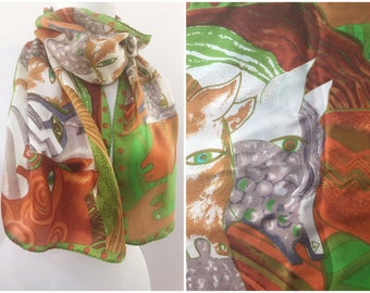 Silk scarf / Printed silk scarf / Scarf with horses print / Silk shawl