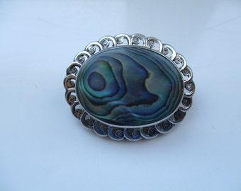 Sterling Silver Paua Shell Brooch,  Oval Brooch, Paua Shell Brooch, New Zealand Paua Shell Jewellery